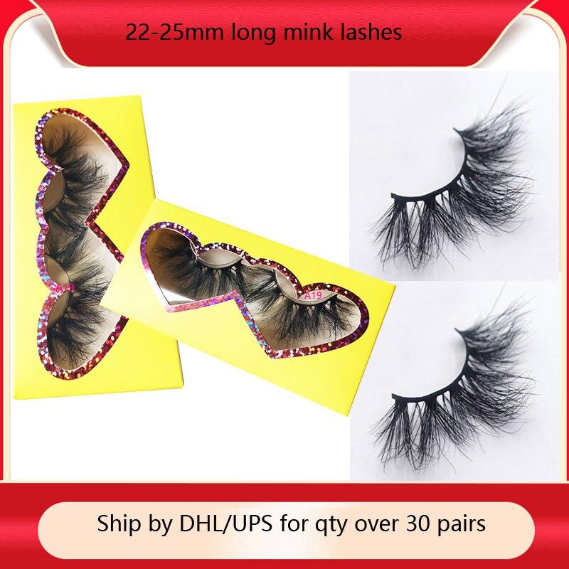 Pestañas kk de 25mm, pestañas largas de visón 3D, pestañas personalizadas, paquete de pestañas postizas de visón dramáticas mullidas, venta al por mayor