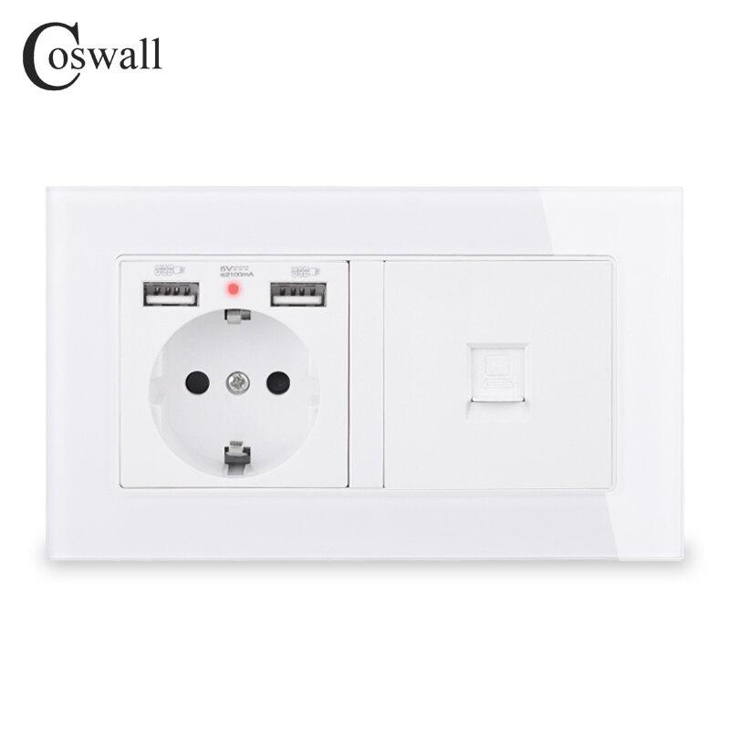 COSWALL, Rusia, España, estándar de la UE enchufe de pared, 2 puertos de carga USB con LED suave oculto + marco de cristal con conector de Internet CAT5E RJ45
