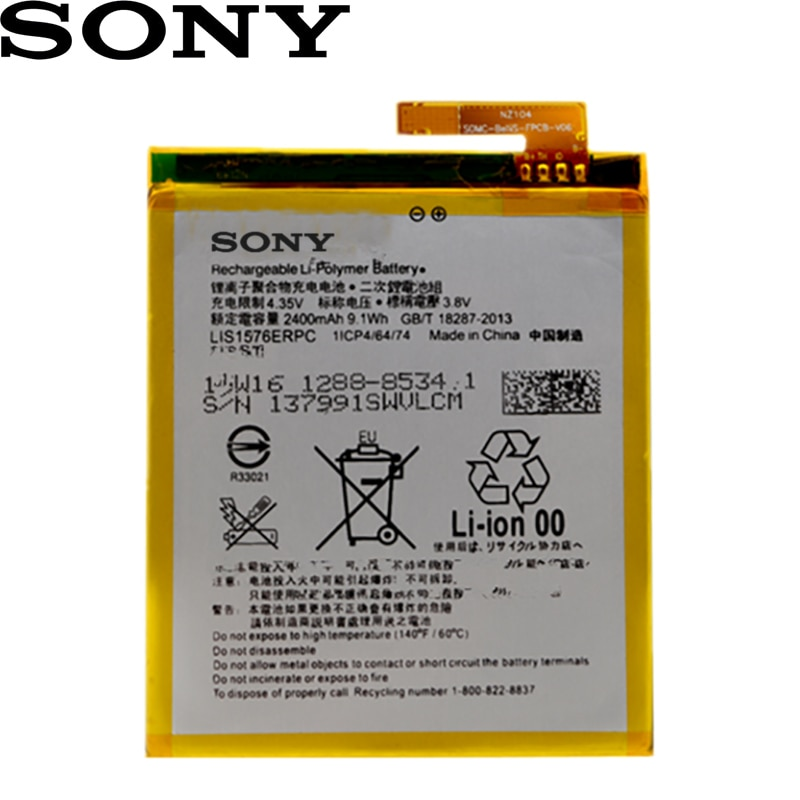 Sony 100% Original 2400mA LIS1576ERPC batería para SONY Xperia M4 Aqua E2353 E2303 E2333 E2306 E2312 E2363 AGPB014-A001 teléfono
