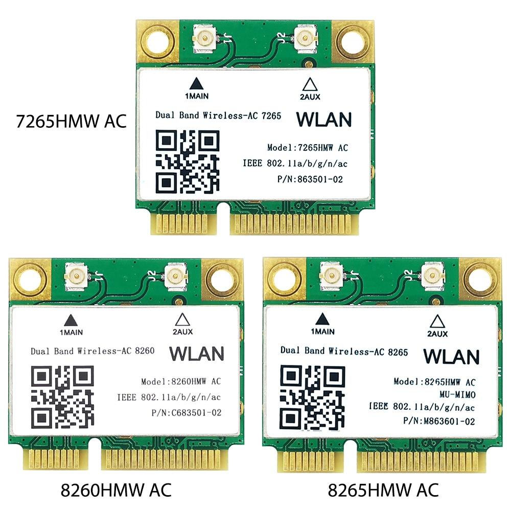 سماعة لاسلكية تعمل بالبلوتوث 4.2 بطاقة الشبكة ثنائي النطاق 5G/2.4G 7265/8260/8265 HMW 802.11 بطاقة الشبكة التيار المتناوب للكمبيوتر مع PCIe صغير