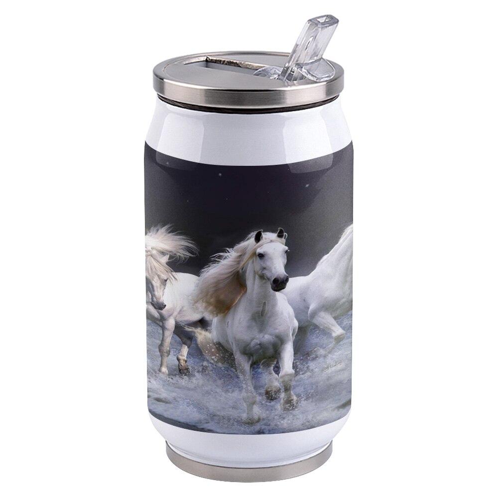 Latas de Cola de taza de aislamiento térmico de viaje portátiles con tapa de paja de acero inoxidable taza de café taza de té White Horse Sky Sea