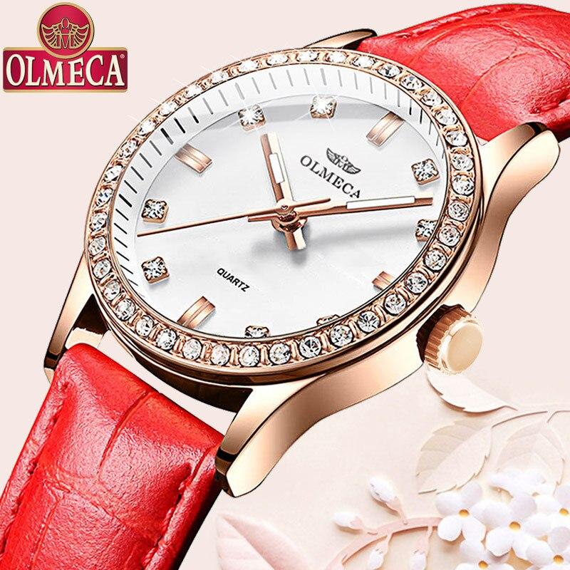 Luxury brand ladies watch with diamond inch watch 3Bar waterproof fashion casual leather belt ladies watch