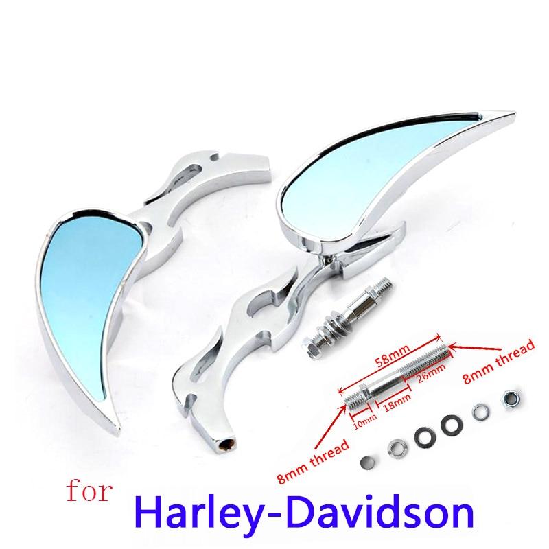 Motocicleta retrovisor espejo lateral para Kawasaki Honda Suzuki para Harley Road King gira XL1200L XL883 XL883L Sportster gordo Bob