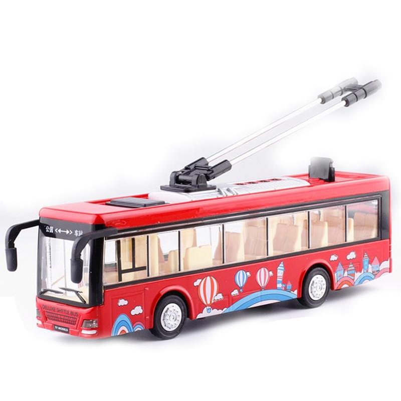 Kinderen Speelgoed Legering Sightseeing Bus Model 1/32 Trolley Bus Diecast Tram Bus Voertuigen Auto Speelgoed met Licht & Geluid Collecties