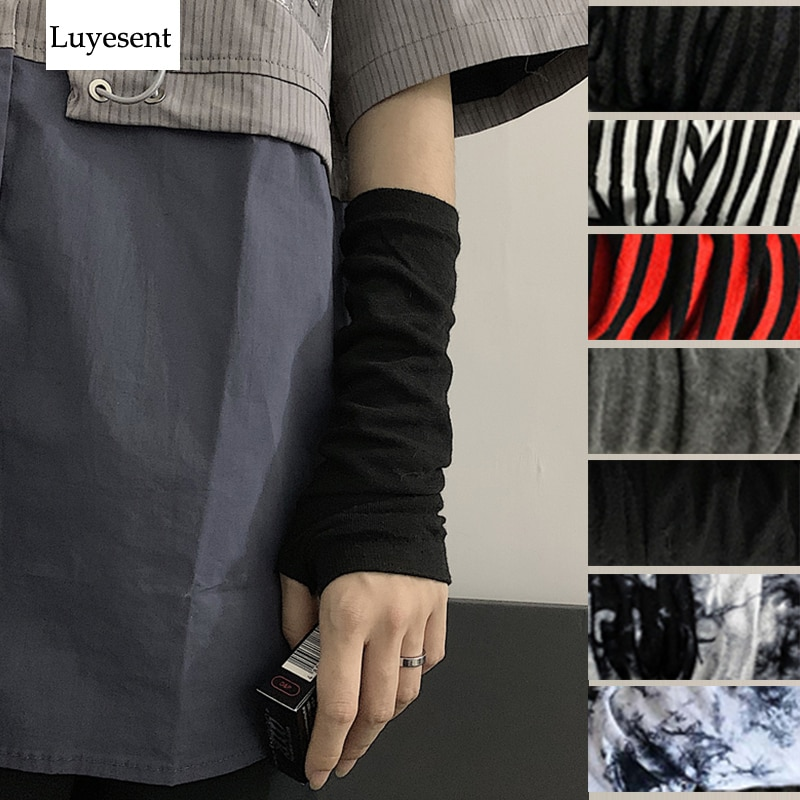 Перчатки унисекс в стиле панк/готика, спортивные рукавицы без пальцев, Стрейчевые рукавицы-ниндзя, для улицы, до локтя, черные, 2021