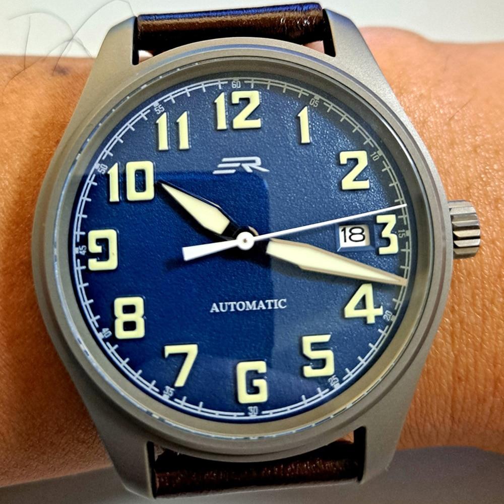 Titanium Automatic Watch Men NH35 Mechanical Wristwatch Retro Pilot Self Winding Sapphire Crystal Lu