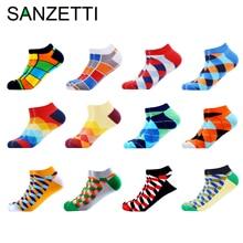 SANZETTI 6-12 paires/lot hommes cheville chaussettes décontracté nouveauté coloré été heureux coton peigné chaussettes courtes Plaid robe bateau chaussettes