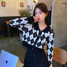 Cardigan Sweater Coat Female Spring Autumn 2021 New Versatile Short Sweater Long Sleeve French Upper