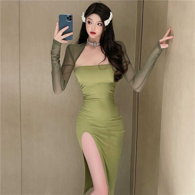 Fashion Suit 2021new Women's Clothing Summer Long-Sleeve Mesh Shawl + Split Tube Top Dress Two-Piece