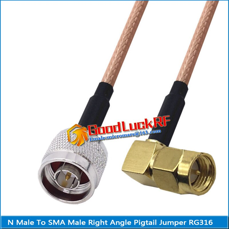 1x pcs high quality sma male to rpsma rp sma rp sma male 90 degree right angle plug coaxial pigtail jumper rg316 cable 1X Pcs High-quality N Male to SMA Male 90 Degree Right Angle Coaxial Type Pigtail Jumper RG316 Cable SMA to N Low Loss