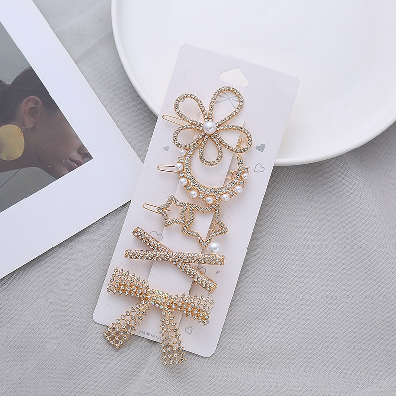 5-piece set of net red rhinestone pearl girl temperament hairpin ins side clip bangs card hair accessory set