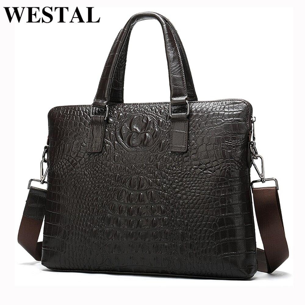 WESTAL, maletín de cuero genuino para hombre, bolso para portátil de cuero, bolso para hombre con patrón de cocodrilo, bolso de mano vintage de lujo, porta documentos 8803