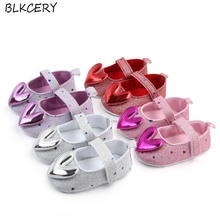 Brand New Fashion Newborn Baby Girls Princess Shoes Soft Sole First Walkers Mary Jane Flats with Hea