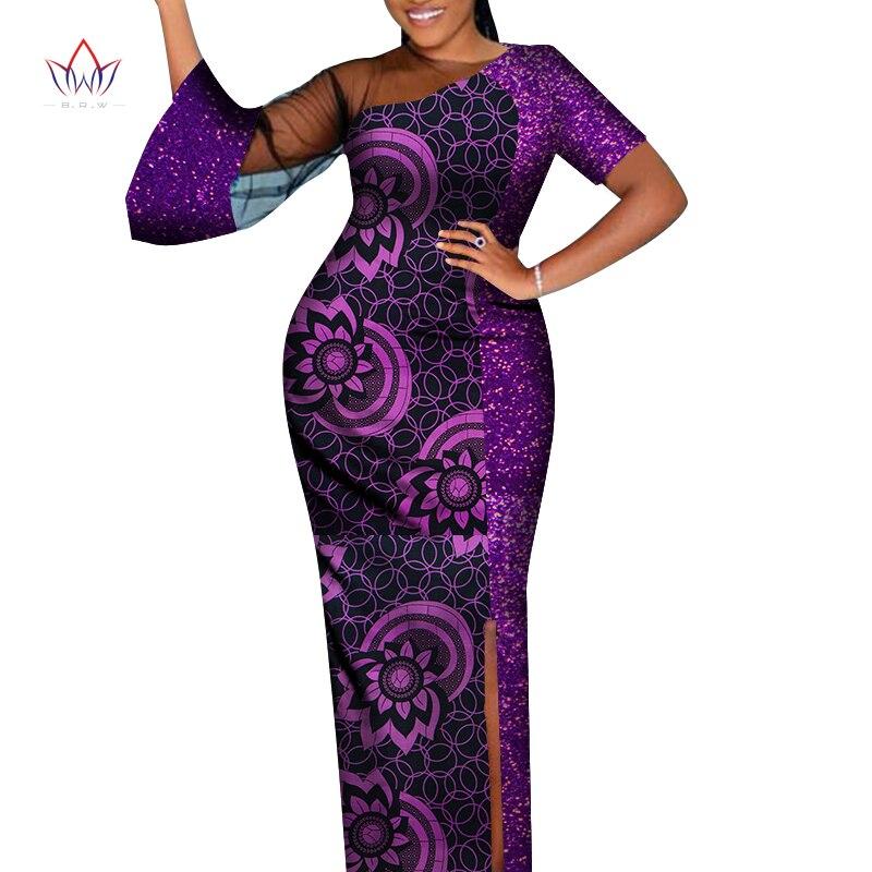 Африканская традиционная одежда для женщин, длинное платье макси с блестками, асимметричная африканская одежда для женщин, женская одежда ...