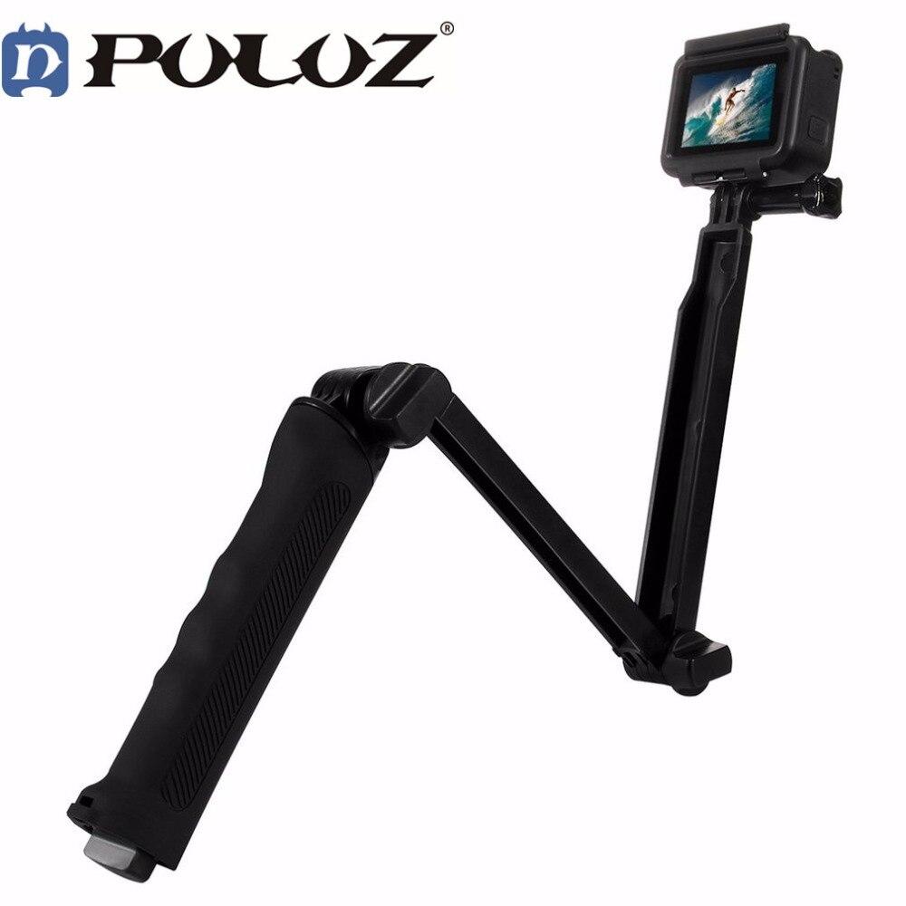 Puluz 3 Way Floating Handle Grip Tripod Mount Selfie Stick for Go pro HERO 6 5 4 3+ 3 2 1 For Gopro Hero Accessories