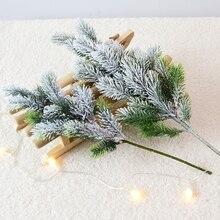 Искусственные сосновые ветки, кедр, снег, Рождественская елка, свадебные украшения, рождественские, сделай сам, настольные, для гостиной, дома, кухни, искусственные растения
