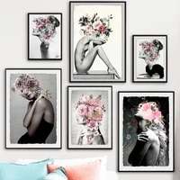 flowers woman abstract canvas painting wall art print poster picture decorative oil painting home decor living room decoration