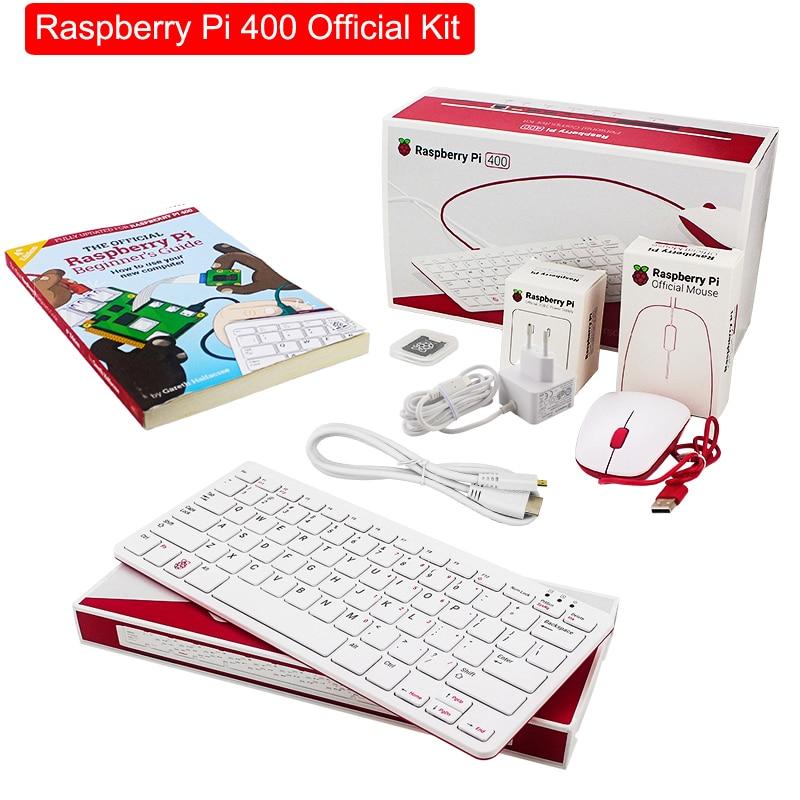مجموعة Raspberry Pi 400 الرسمية ، 4 جيجابايت من ذاكرة الوصول العشوائي ، محول طاقة ، كابل HD ، دليل للمبتدئين ، لوحة لوحة مفاتيح بلوتوث مع WiFi مدمج ، RPI 400