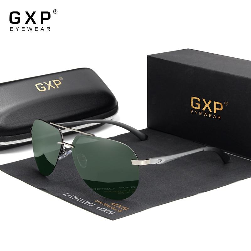 Мужские солнцезащитные очки GXP без оправы, из алюминиево-магниевого сплава с поляризационными линзами, в стиле ретро