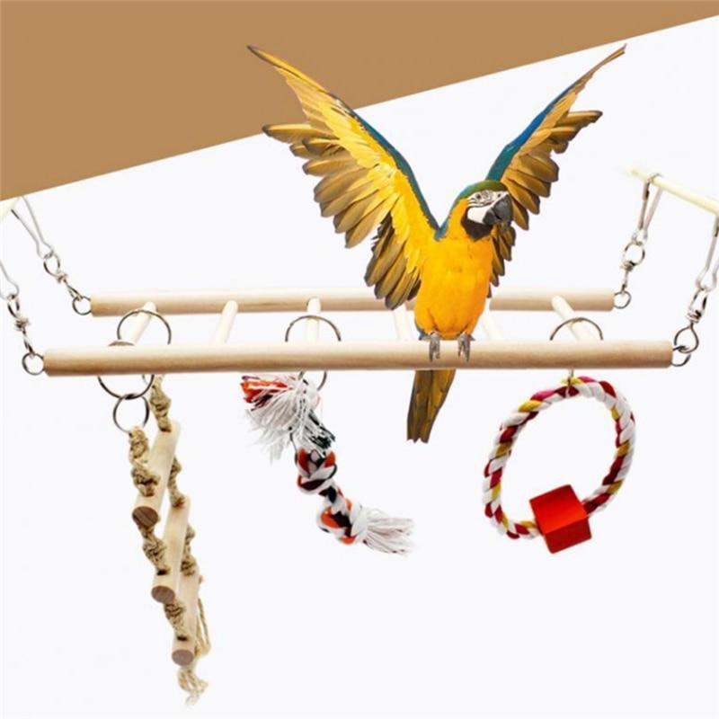 2020 Parrot Climbing Net Hanging Ladder Bridge Macaw Cage Decorative Bird Toy Pet Supplies Parrot Toy Pet Toy