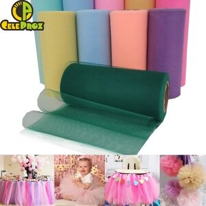 Tulle Roll Spool 5cm 15cm 25cm Organza Roll Pink Blue Tulle Organza Fabric Tutu Skirt Girl Baby Shower Decor Party Supplies 25Y