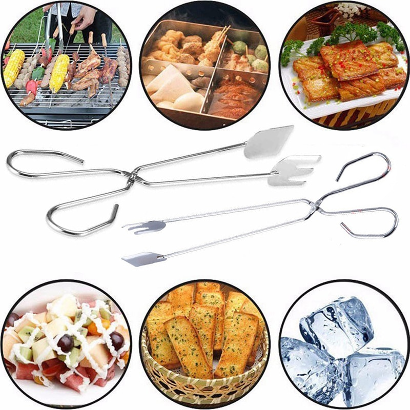 Pinzas para comida, tijeras de acero inoxidable, tipo pinza de barbacoa para comida a la parrilla, pinzas de cocina, herramientas de barbacoa prácticas para exteriores #25