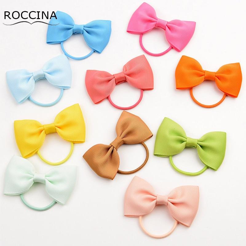20PCS/Lot Mini Bowknot Headwear Girls Hair Band Handmade Grosgrain Ribbon Elastic Hairband Baby Rings Kids Accessories