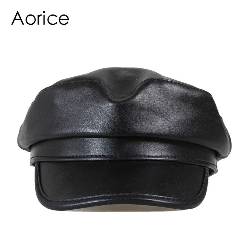 Aorice الشتاء جلد طبيعي الرجال البيسبول كاب قبعة CBD عالية الجودة الرجال الحقيقي الأغنام الجلد جلد الكبار الصلبة القبعات قبعات HL151-B