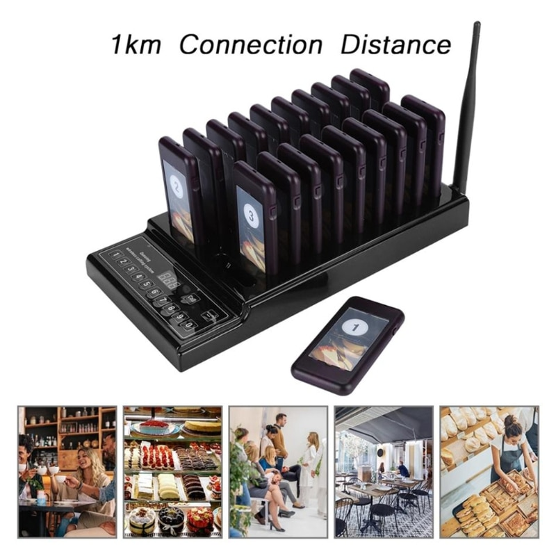 SU-68Z Restaurant Calling Pager System 20 Pager Wireless Queue Call Pager System T21B enlarge