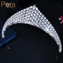 Pera mariage classique blanc zircon cubique cristal bijoux grand Large diadèmes de mariée et princesse couronnes cheveux accessoires H018