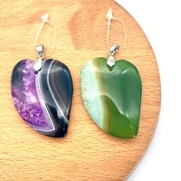 2pcspack fashion natural agate pendants colorful semi precious stone diy for making necklace 4 colors for choice 31x44mm size