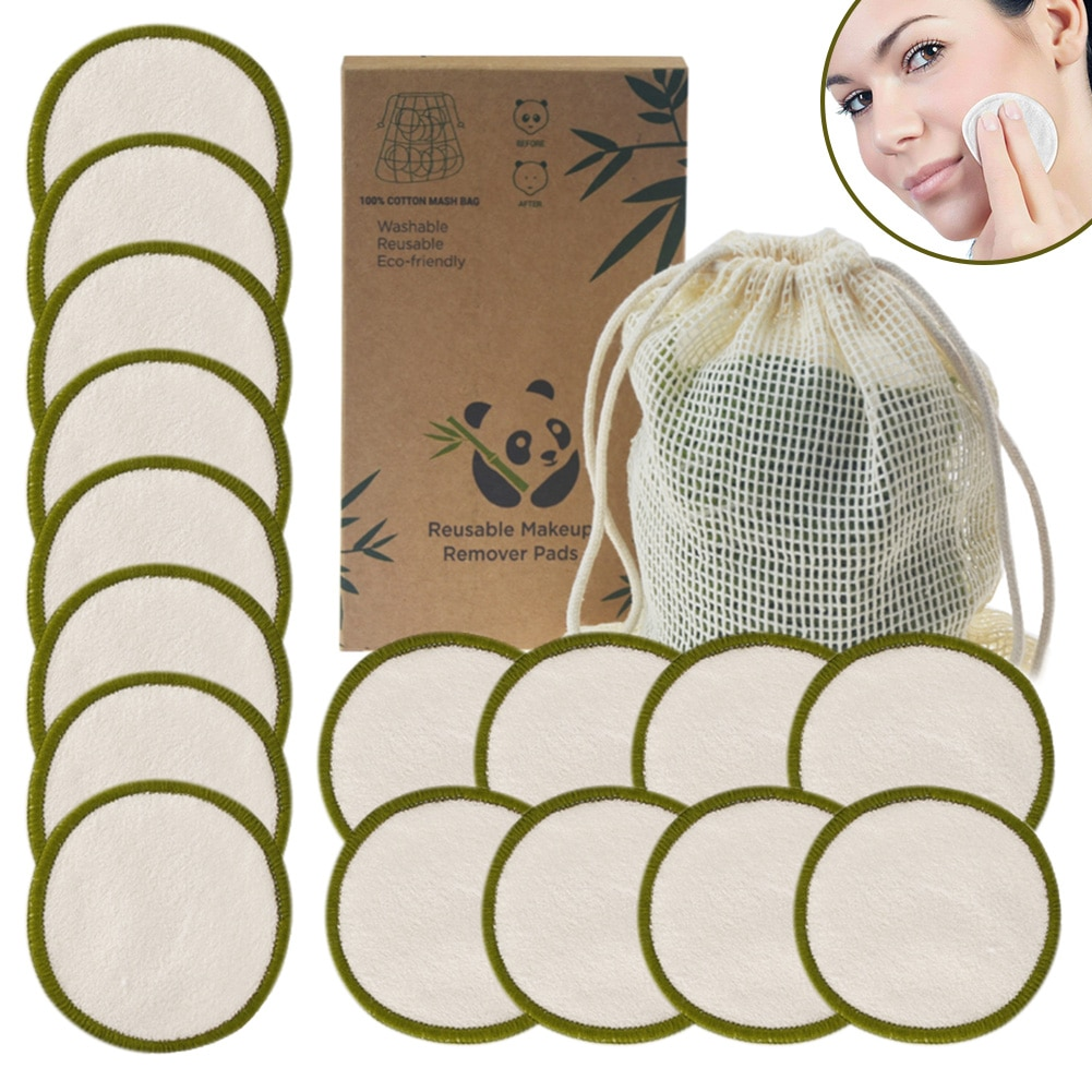 Reusable Bamboo Makeup Remover Pads 12pcs/Bag Washable Rounds Cleansing Facial Cotton Make Up Removal Pads Tool