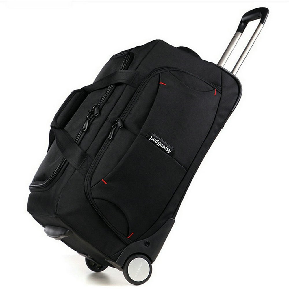 AspenSport Unisex bolsa de equipaje de rodillo caída inferior bolsa de lona con ruedas 53L Durable impermeable bolsa de viaje AS-T10BLK