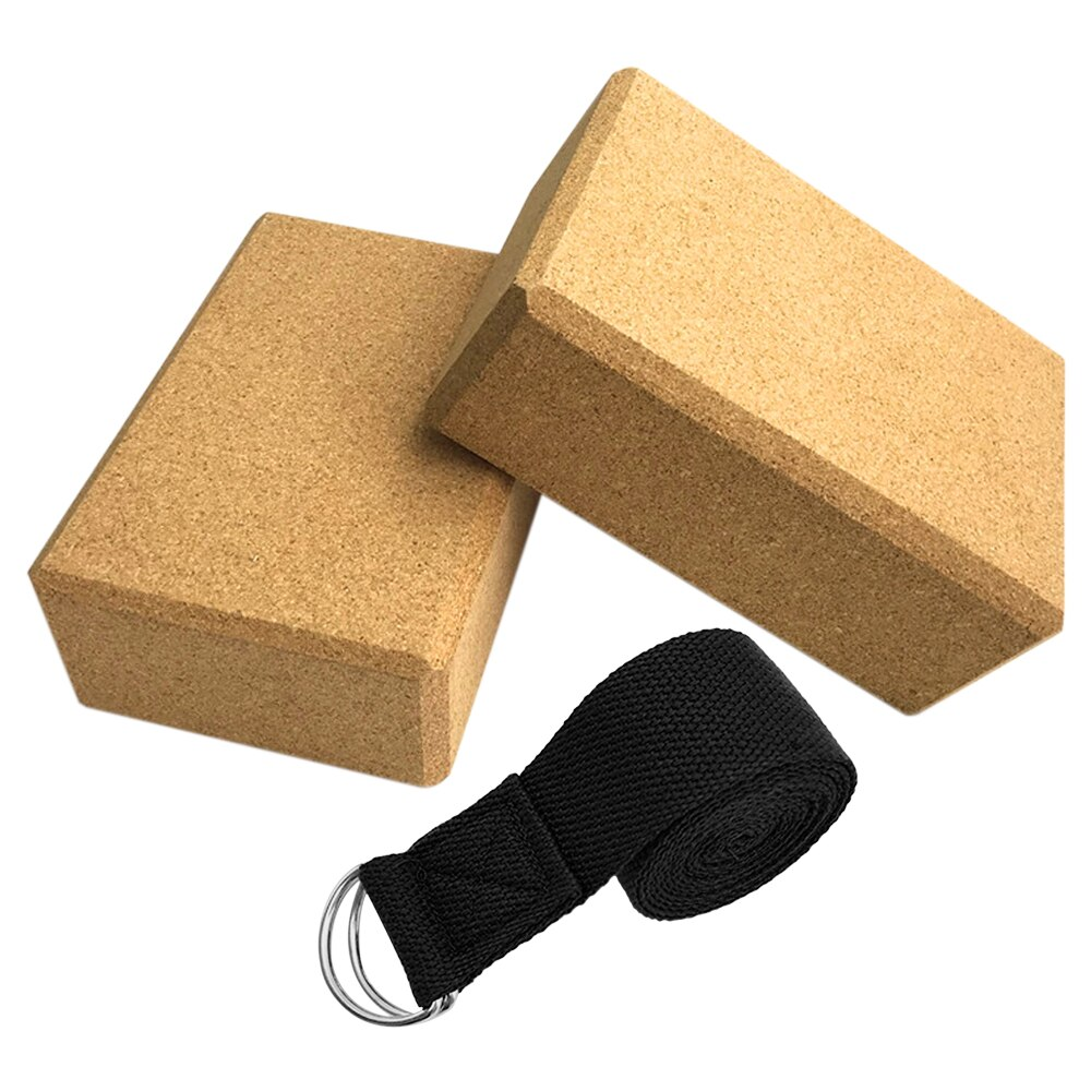 3PCS Yoga Block Cork Sport Home Gym Exercise Wood Yoga Brick Soft High Density Block for Indoor Sport  Exercise Workout Fitness
