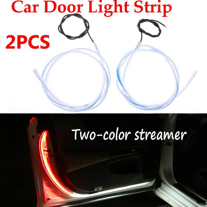 2x Car Door Open Warning Lamp Flashing LED Lights Strip Anti-collision Safety Lamps Welcome Flash Light