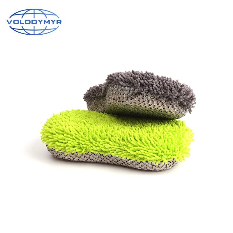 Car Sponge Brush Microfiber Towel Rim Cleaner Cyan or Gray Detail Detailing Brush Auto Cleaning Washing Tools for Clean Wash