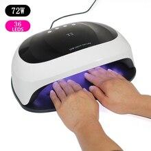 Secador de uñas para todo tipo de geles, lámpara UV inteligente LED con temporizador de 72W, 10/30/60s, sensor de luz infrarroja solar