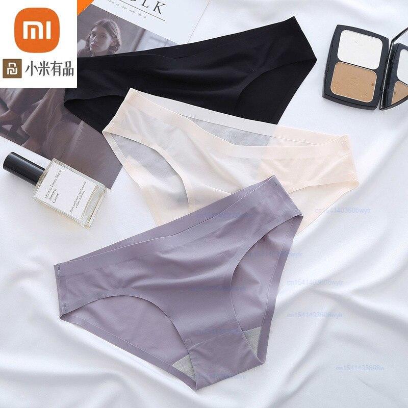 Xiaomi-bragas de seda de hielo para mujer, ropa interior Sexy sin costuras, amigable con la piel, Tanga, transpirable, alta elasticidad, 3 uds.