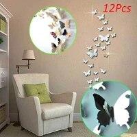 12 pieces 3D miroirs papillon Stickers muraux decalcomanie Art mural amovible chambre fete de mariage decor maison deco autocollant mural pour chambre denfants
