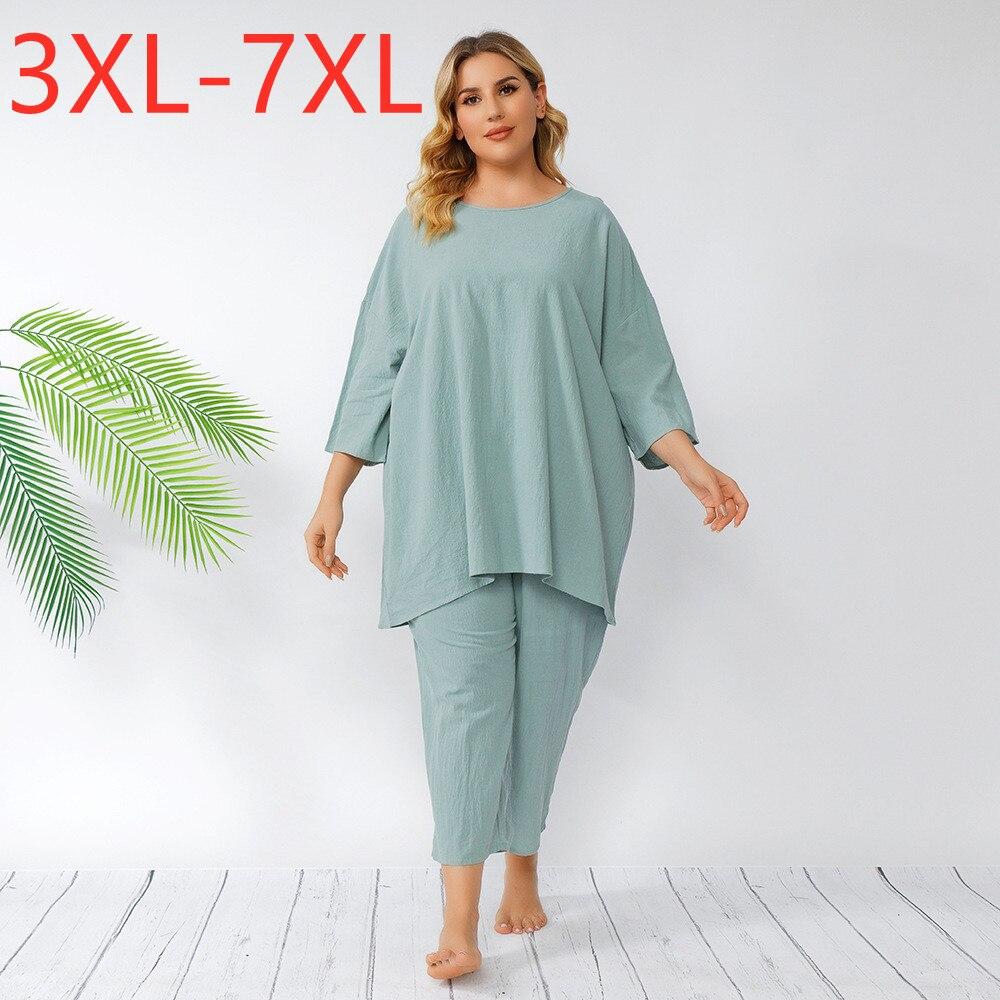 جديد 2021 الصيف السيدات حجم كبير النساء كبيرة قصيرة الأكمام فضفاضة الأزرق تي شيرت و السراويل المنزل ارتداء الدعاوى 3XL 4XL 5XL 6XL 7XL