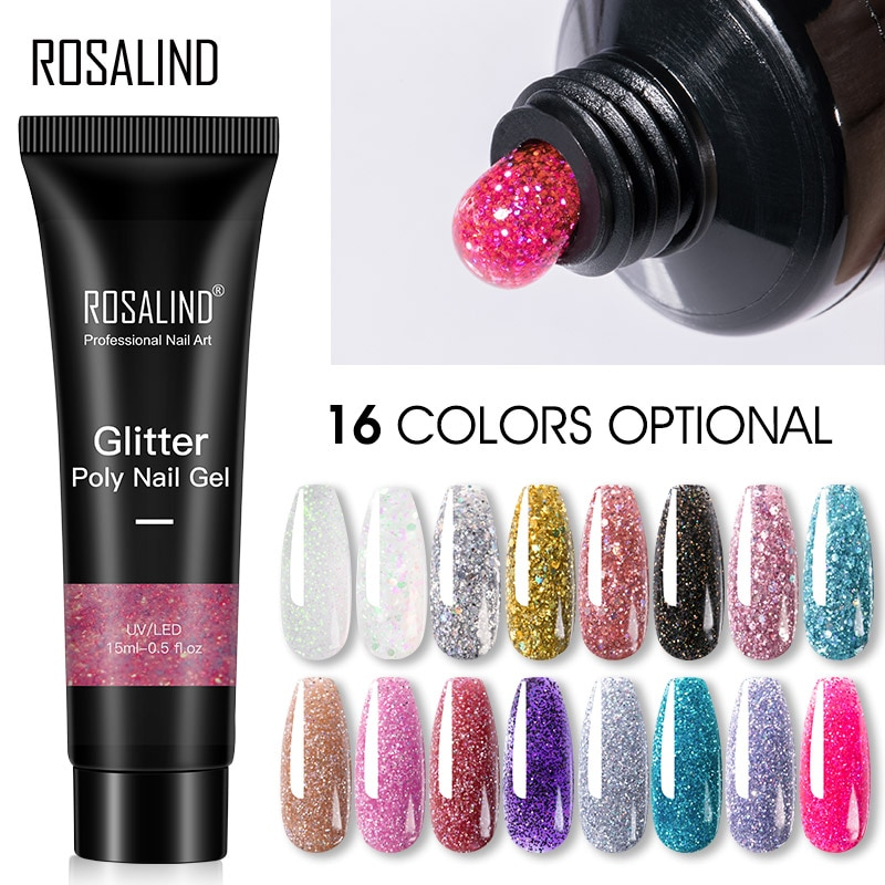 ROSALIND Glitter Poly Nail Gel Extension 15ml Gel Polish All For Manicure Poly Builder Gel Semi Perm