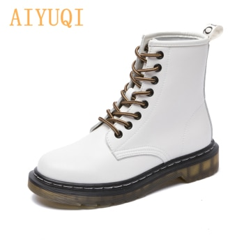 AIYUQI Martin Boots Ladies Genuine Leather Lace-up Female Motorcycle Boots British Style Classic White Ladies Ankle Boots