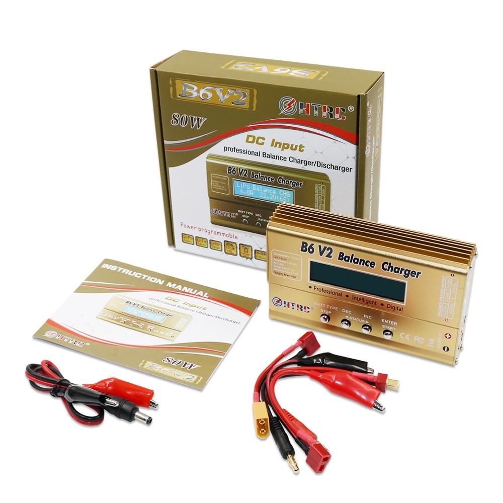 HTRC Imax B6 V2 80W, descargador de batería Digital profesional, cargador de equilibrio de batería para LiHV LiPo LiIon LiFe NiCd NiMH PB, batería