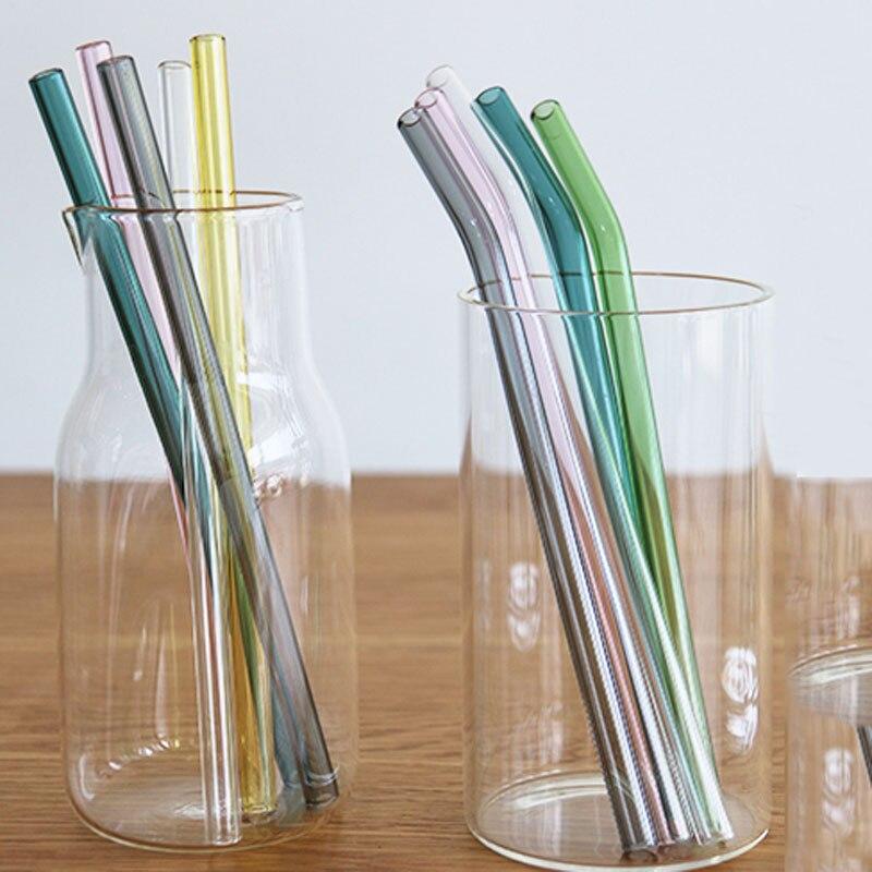 5 unids/lote, Pajita de cristal transparente de colores creativos, resistente a altas temperaturas, tubo curvo de pajita para zumos, para batidos
