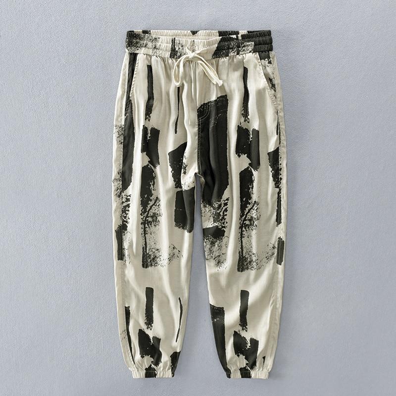 Pantalones de cintura elástica para hombre, pantalón estampado divertido de lino y camuflaje con bolsillos Patrón Irregular, ropa de calle divertida, Pantalones suaves de Hip Hop
