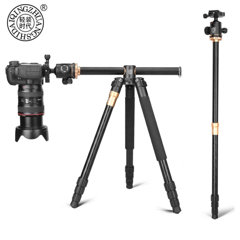 QZSD Q999H Portable Alluminium Alloy Camera Tripod Video Monopod Professional Extendable Travel Horizonal ball head