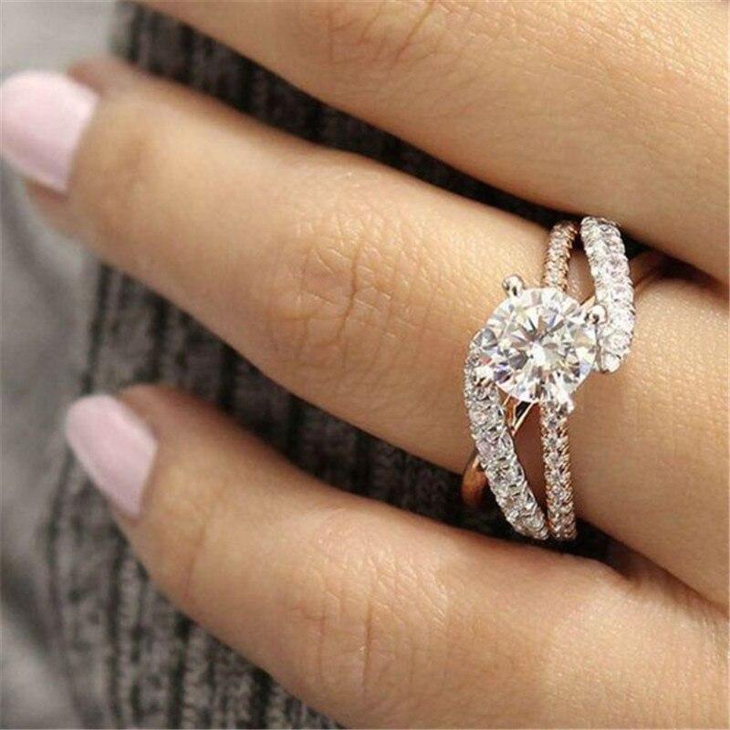Anillo de lujo para las mujeres boda anillo de Color dorado regalo de San Valentín