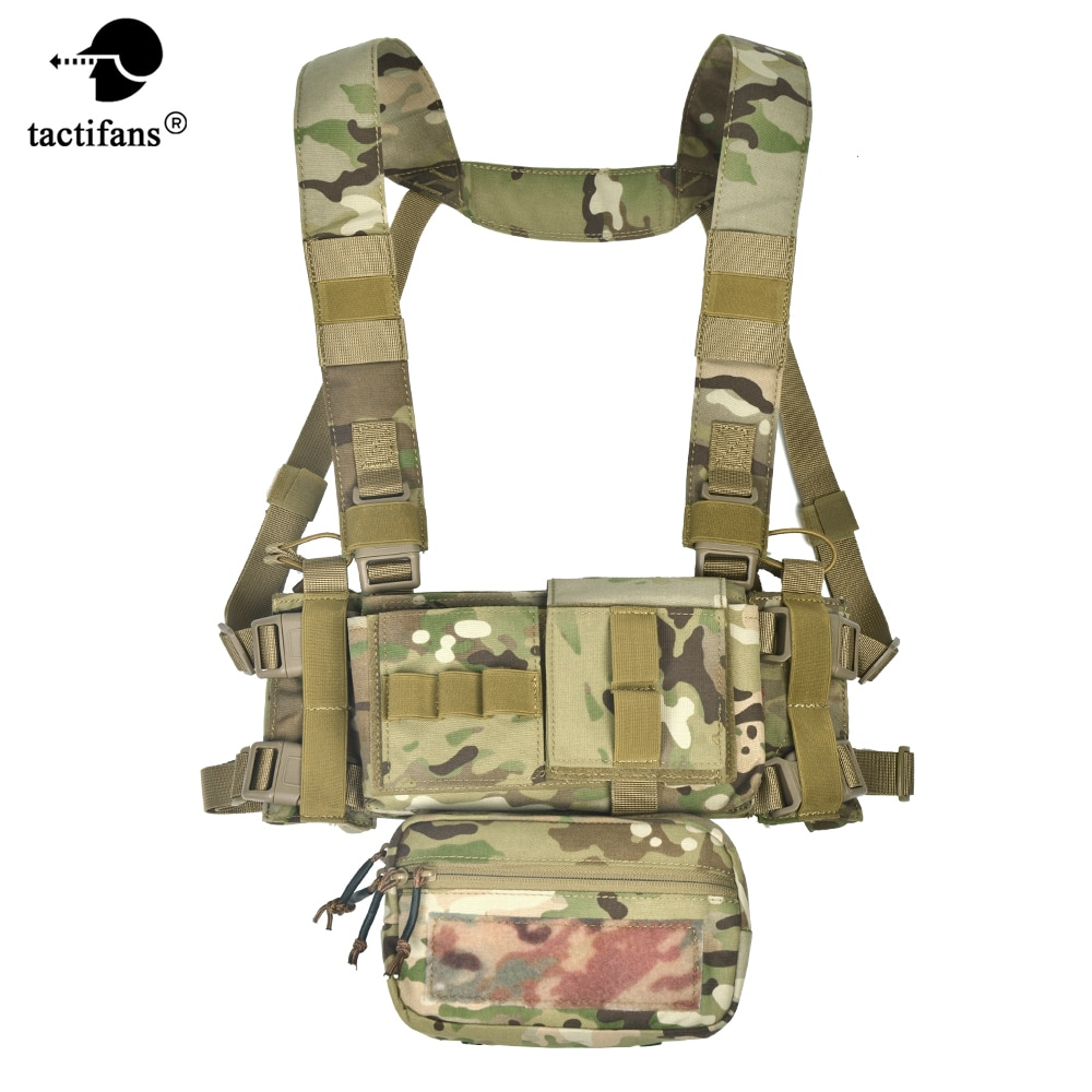 Cordura MK3 Tactical Chest Rig Vest With Sub Abdominal Pouch M4 Triple MAG AK Double Insert H Harness Paintball Accessories