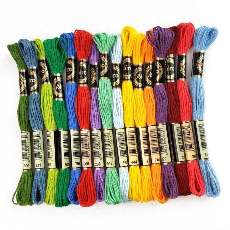 6 uds. 8 metros de hilo de bordado de Color sólido DIY hilo de rama de línea de algodón hilo Similar Dmc hilo de Hilo de punto de cruz