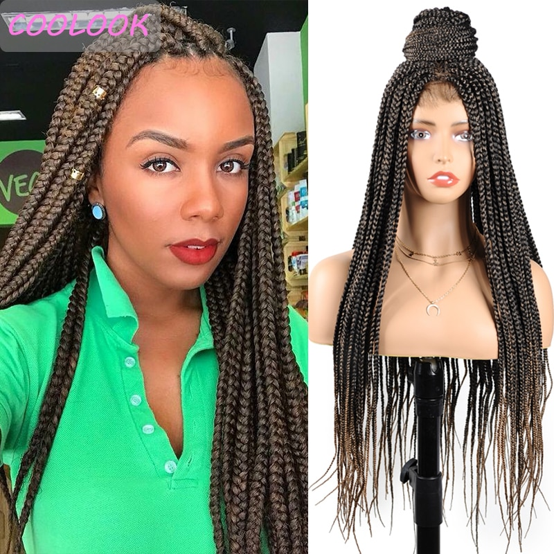 Ombre Blonde Box Braids Lace Front Wigs for Black Women 30 Inch Box Braided Wig Middle Part African American Synthetic Lace Wigs